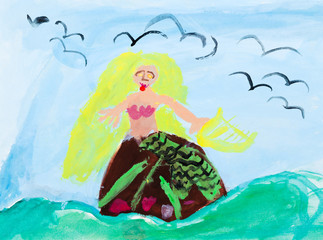 childs paiting - siren in sea waves