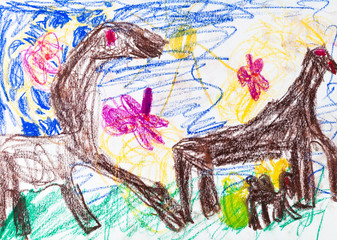 child's drawing - Horses graze in meadow