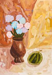 child's paiting - flower vase with chrysanthemum