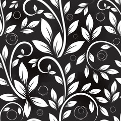 Seamless leaves monochrome vector pattern.