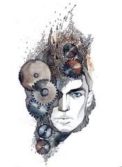man's head with gears