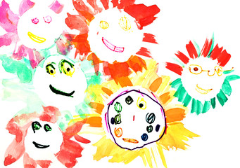 child's drawing - many happy suns