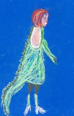 child's drawing - girl in fancy dress