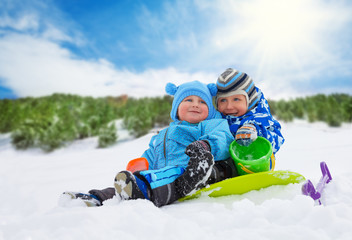 Two little boys on winter days