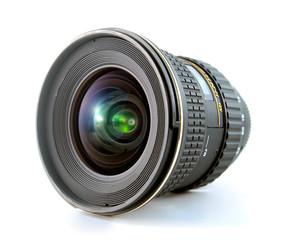 Ultra wide lens for SLR camera on white background