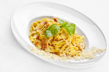Tasty food. Pasta with roasted meat.