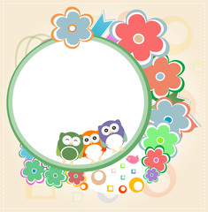 Natural owl card with flowers