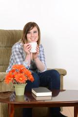 teen girl enjoying a coffee