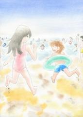 海に駆け出す二人
