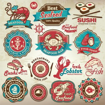 Collection of seafood restaurant labels, badges and icons
