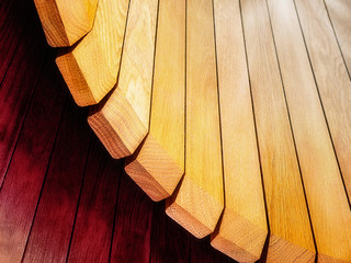 Wooden slats curved background