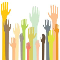 Vector hands reaching