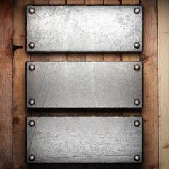 metal on wood background
