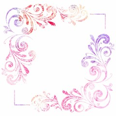 Floral frame. Vector watercolor background.