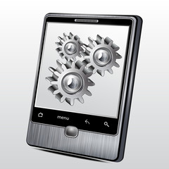 Mobile phone in the metal case with gear wheels on the screen.Ve
