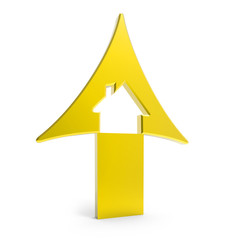 3d golden up arrow with house inside rising prices