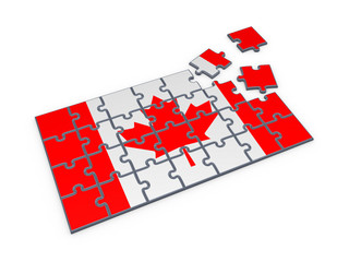 Canadian flag made of puzzles.