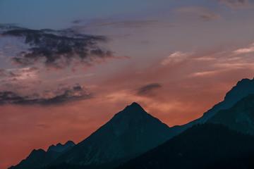 Abendrot in den Alpen
