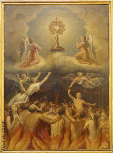 Wall mural Madrid - Eucharist and the souls in purgatory.