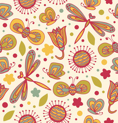 Cute floral pattern with flowers, dragonflies and butterflies