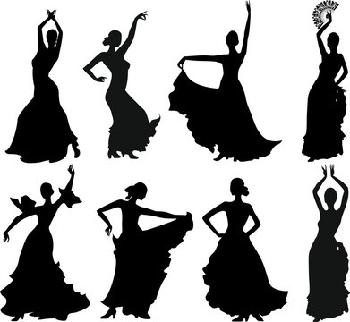 Eight silhouettes of flamenco dancer