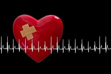 rotes Herz mit Pflaster und EKG, schwarzem Hintergrund