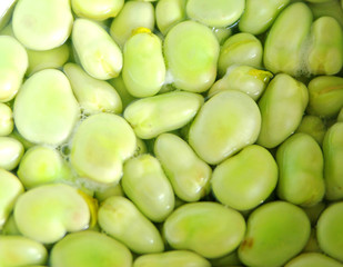 broad beans in boiling water