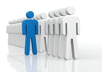 Blue man in queue