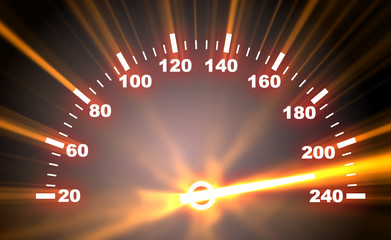 speedometer on blaze background