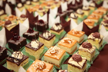 Varieties of cakes desserts catering sweets