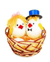 Easter chicken toys isolated on white