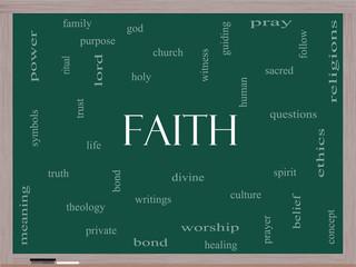 Faith Word Cloud Concept on a Blackboard