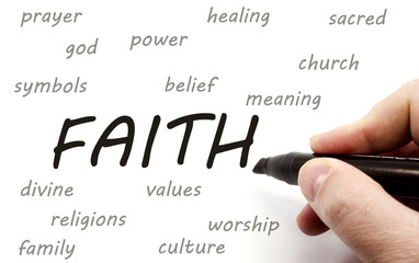 Hand writing FAITH and related words
