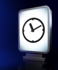 Timeline concept: Clock on billboard background