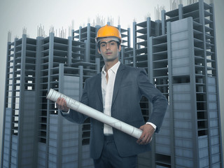 Young Architect with Under constructed Building