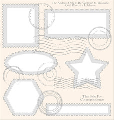 Empty post stamp set, vector illustration