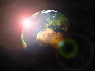 Erde mit Sonnenaufgang