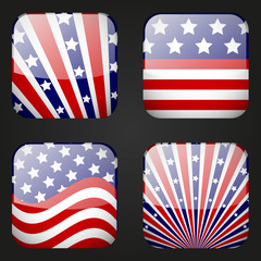 Set of American apps icons