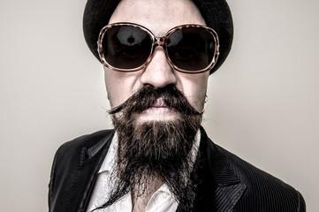 long beard and mustache hipster