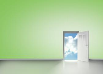 Door opening to reveal blue cloudy sky