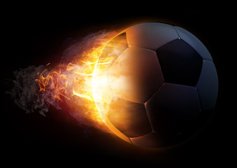 Football in Fire on black background