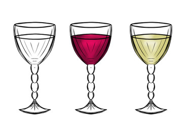 Sketch of a glass of wine