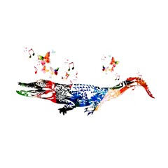 Colorful vector crocodile background with butterflies