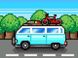 Door stickers Pixel family road trip summer vacation pixel clipart