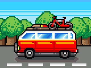 Spoed Foto op Canvas Pixel car going for summer holiday trip - retro pixel illustration