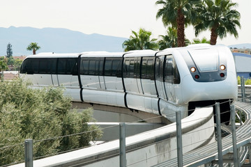 Monorail arriving to the station on the Las Vegas Strip
