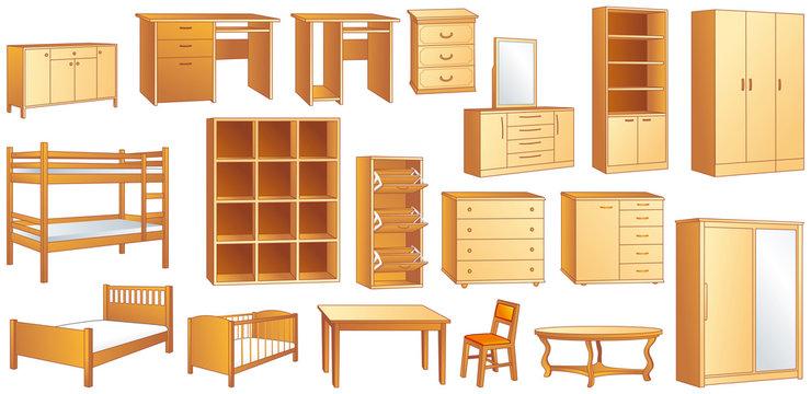 Wooden furniture set: vector illustration