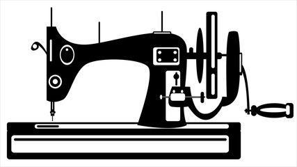 vector sewing machine on white background