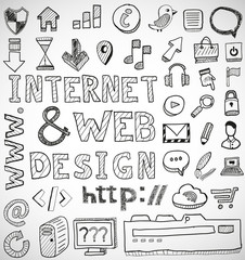 Internet and web design hand drawn doodles