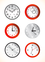 Red and grey clocks